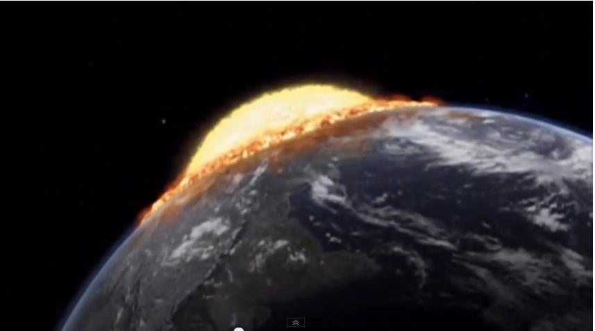 Un astéroïde géant heurtant la Terre.