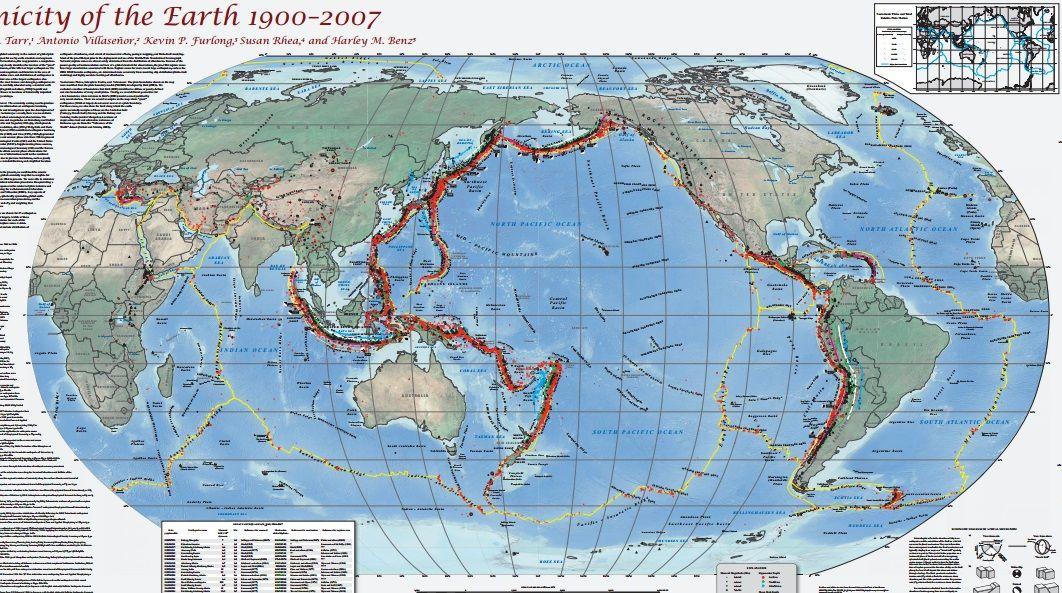 Grâce au travail de nombreux chercheurs et d'une étude géologique américaine, nous pouvons désormais observer toutes les zones qui ont été touchées par des séismes dans le monde depuis 1900 sur une seule et même carte du monde.