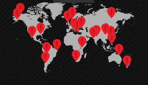 Capture d'écran de la carte des 22 routes les plus dangereuses du monde.