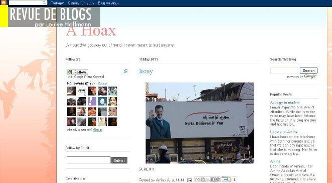 Capture d'écran du blog A Gay Girl in Damascus, avec une photo d'une affiche de Bachar Al Assad (source : Electronic Intifada)