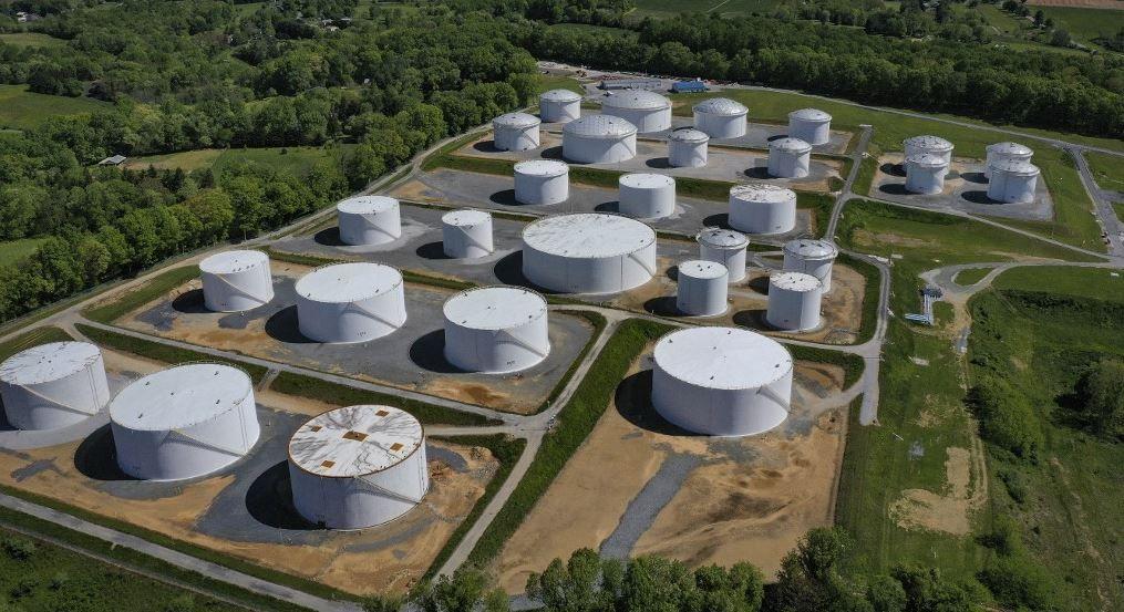 Des réservoirs de stockage de carburant à la station Dorsey Junction de Colonial Pipeline à Woodbine dans le Maryland, le 13 mai 2021. Colonial Pipeline a été victime d'une cyberattaque.