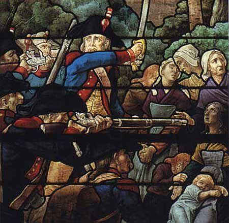 Massacre du Moulin-de-la-Reine, le 5 avril 1794, 22 femmes et enfants sont fusillés (vitrail de l'église de Montilliers, par Jean Clamens, 1901)