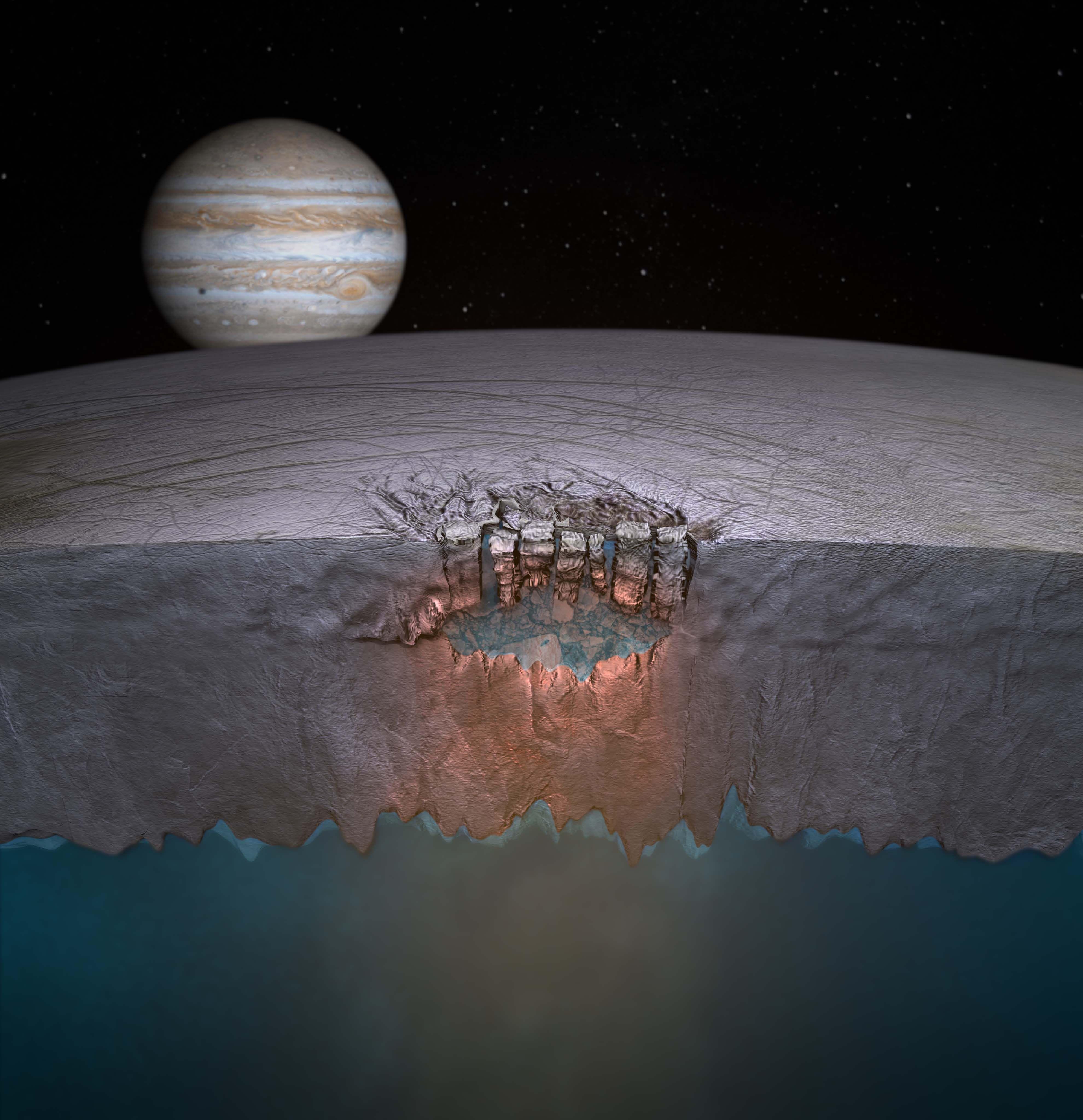 Un modèle 3D d'Europe, avec Jupiter en fond