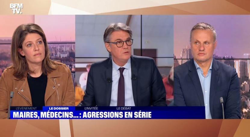 Un débat était organisé sur BFMTV sur la violence au sein de la société française à l'égard des élus, des médecins, des pompiers ou bien encore des policiers.