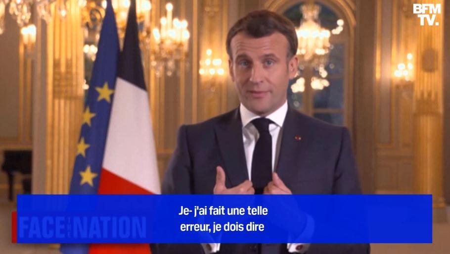 """Emmanuel Macron reconnaît """"une erreur"""" sur la transition écologique lors d'un entretien accordé à la télévision américaine."""