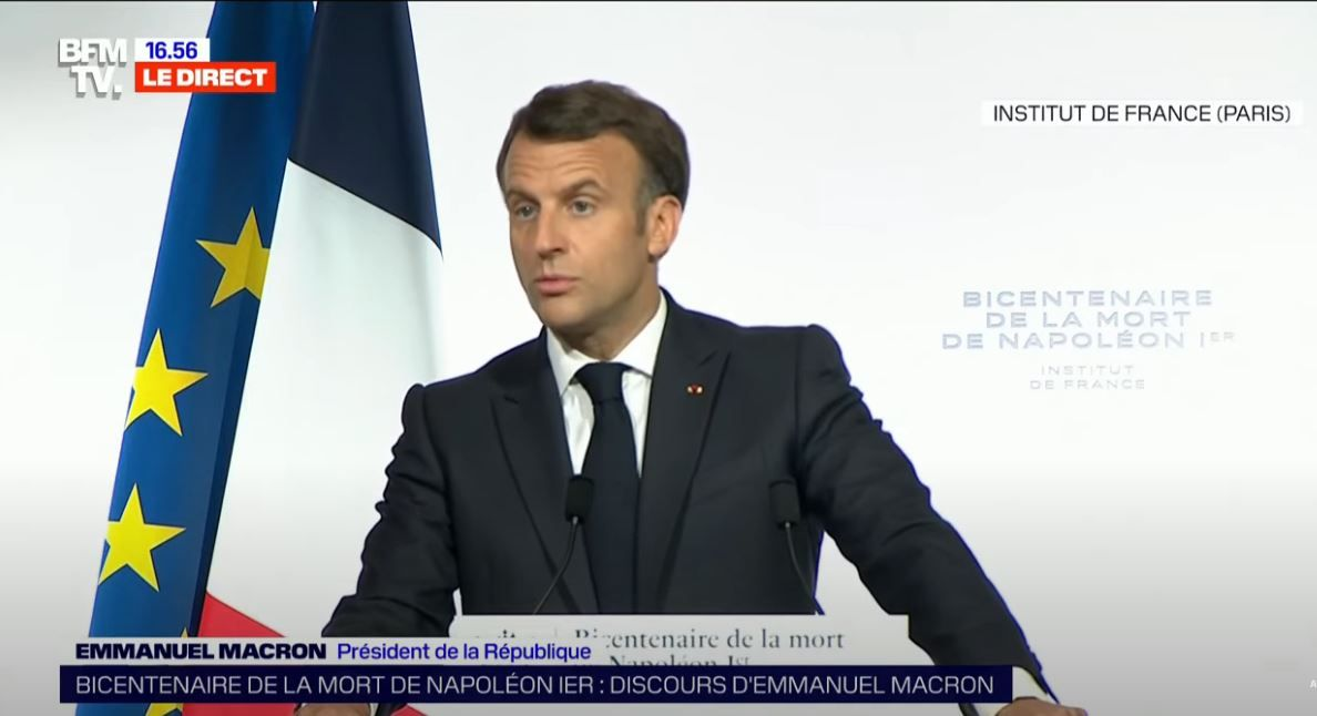 Emmanuel Macron a prononcé un discours ce mercredi 5 mai 2021 dans le cadre des commémorations du bicentennaire de la mort de Napoléon.