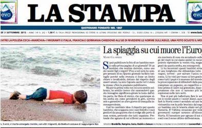 Le petit enfant mort à la une du journal La Stampa.
