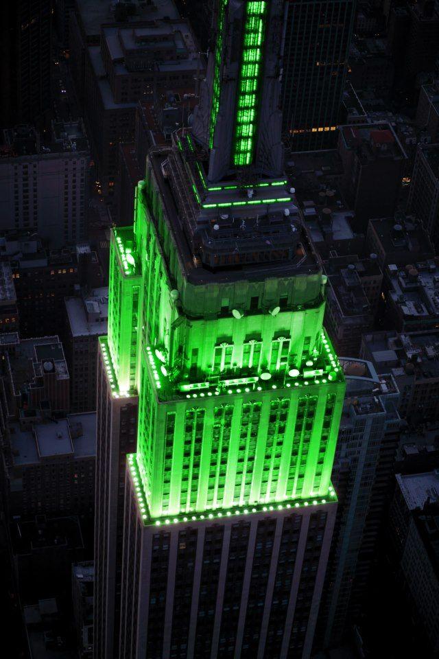Pendant deux jours, le building s'illuminera en vert.