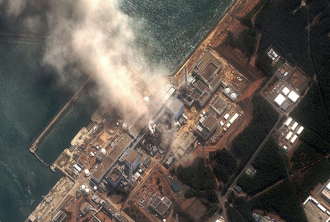 La centrale de Fukushima vue du ciel.