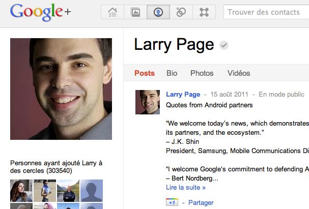 Le profil Google + de Larry Page n'est plus alimenté depuis le 15 août dernier.