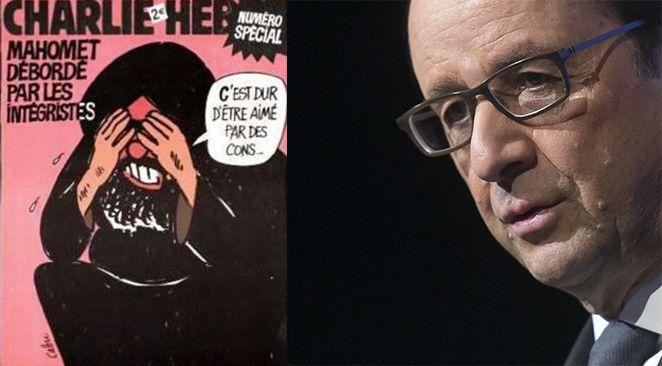 A gauche, la une de Charlie Hebdo en 2006. A droite, François Hollande.