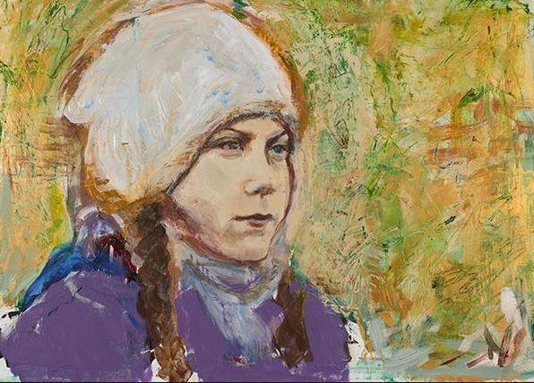 Un tableau représentant Greta Thunberg, signé par l'artiste Joan Baez et proposé par la Seager/Gray Gallery