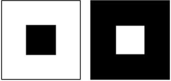 Dans cette illusion d'optique, le carré blanc sur un fond noir apparaît plus grand que celui sur un fond blanc, pourtant de la même taille.