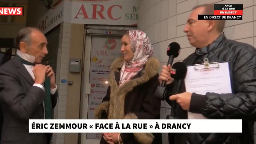 Eric Zemmour, Jean-Marc Morandini et une habitante de l'Ile-de-France dans l'émission Face à la rue diffusée sur CNews.