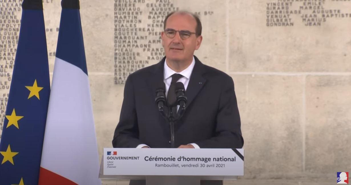 Le Premier ministre, Jean Castex, lors de la cérémonie d'hommage national à Stéphanie Monfermé, tuée lors de l'attaque terroriste perpétrée au commissariat de Rambouillet.