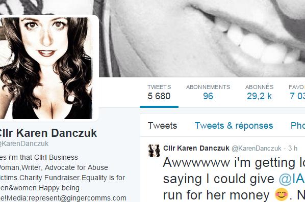 La page Twitter de Karen Danczuk