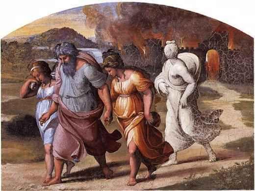 La fuite de Loth par le peintre Raphaël.