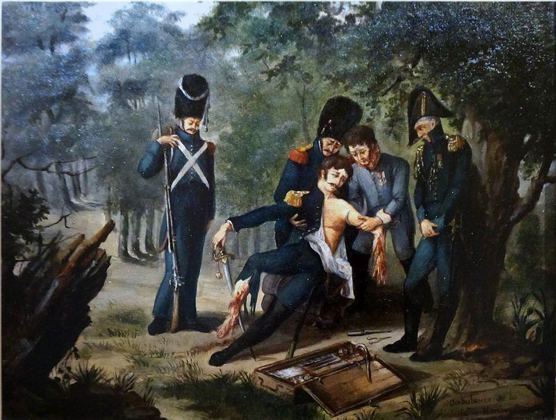 Le baron Larrey soignant Rebsomen sur le champ de bataille de Hanau