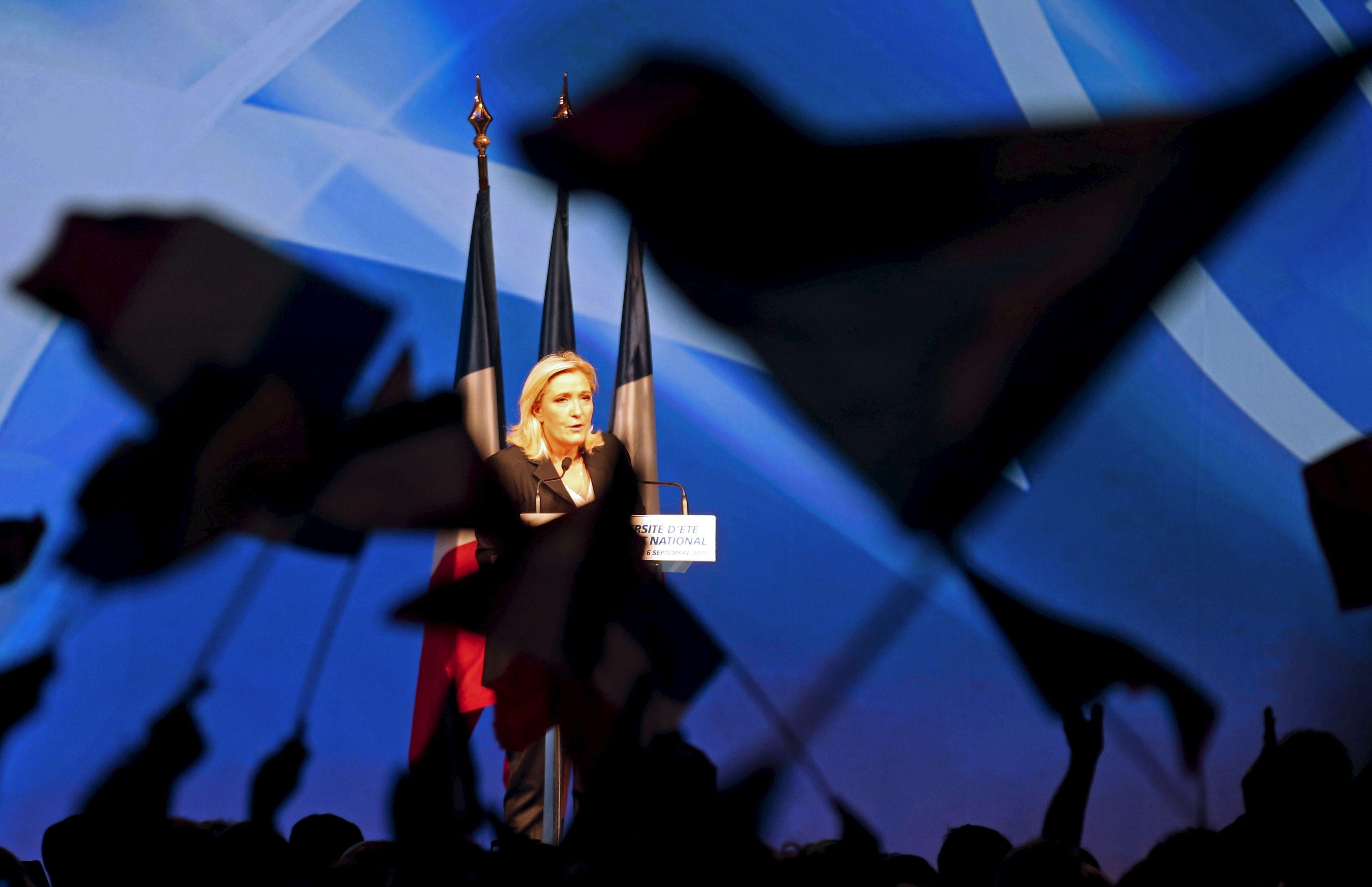 Marine Le Pen lors des universités du FN, à Marseille