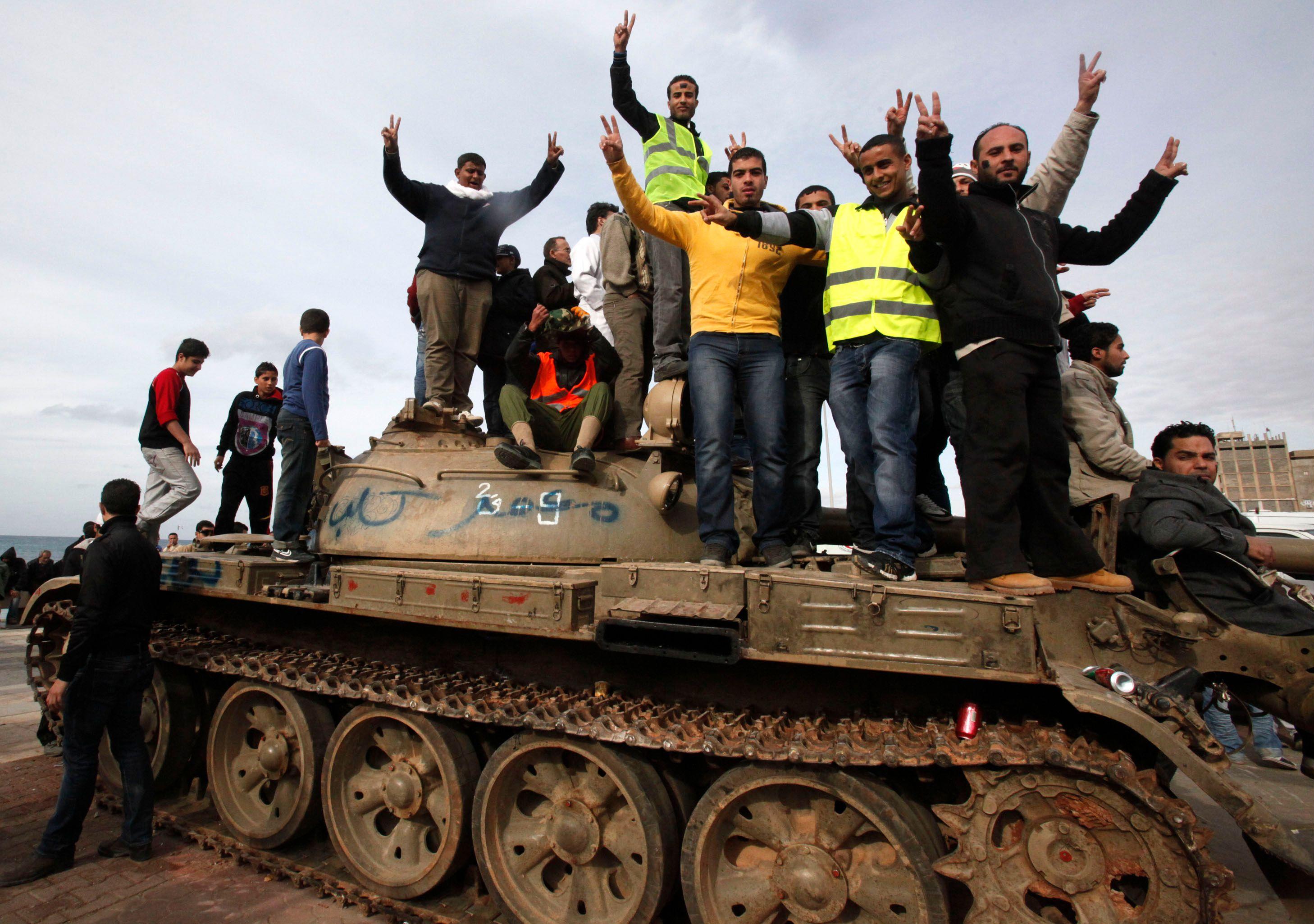 Des rebelle libyens à Benghazi.