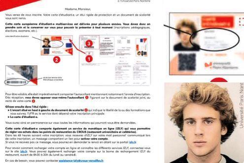 L'université de Nanterre aurait utilisé une ancienne photographie d'Emmanuel Macron sur des spécimens de cartes d'étudiant