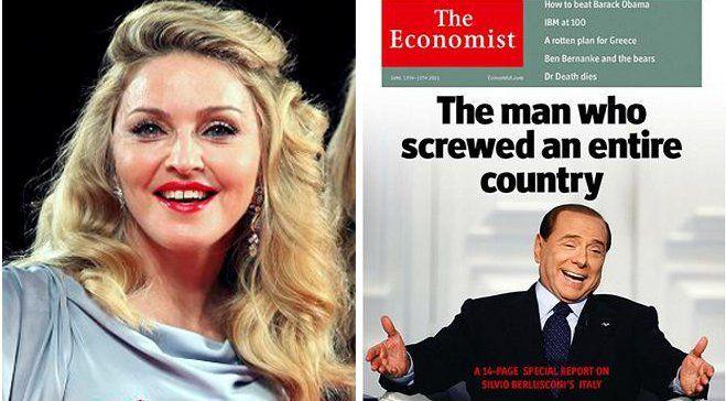 L'origine de la polémique : Madonna qui se réfère au titre de The Economist pour critiquer Berlusconi.