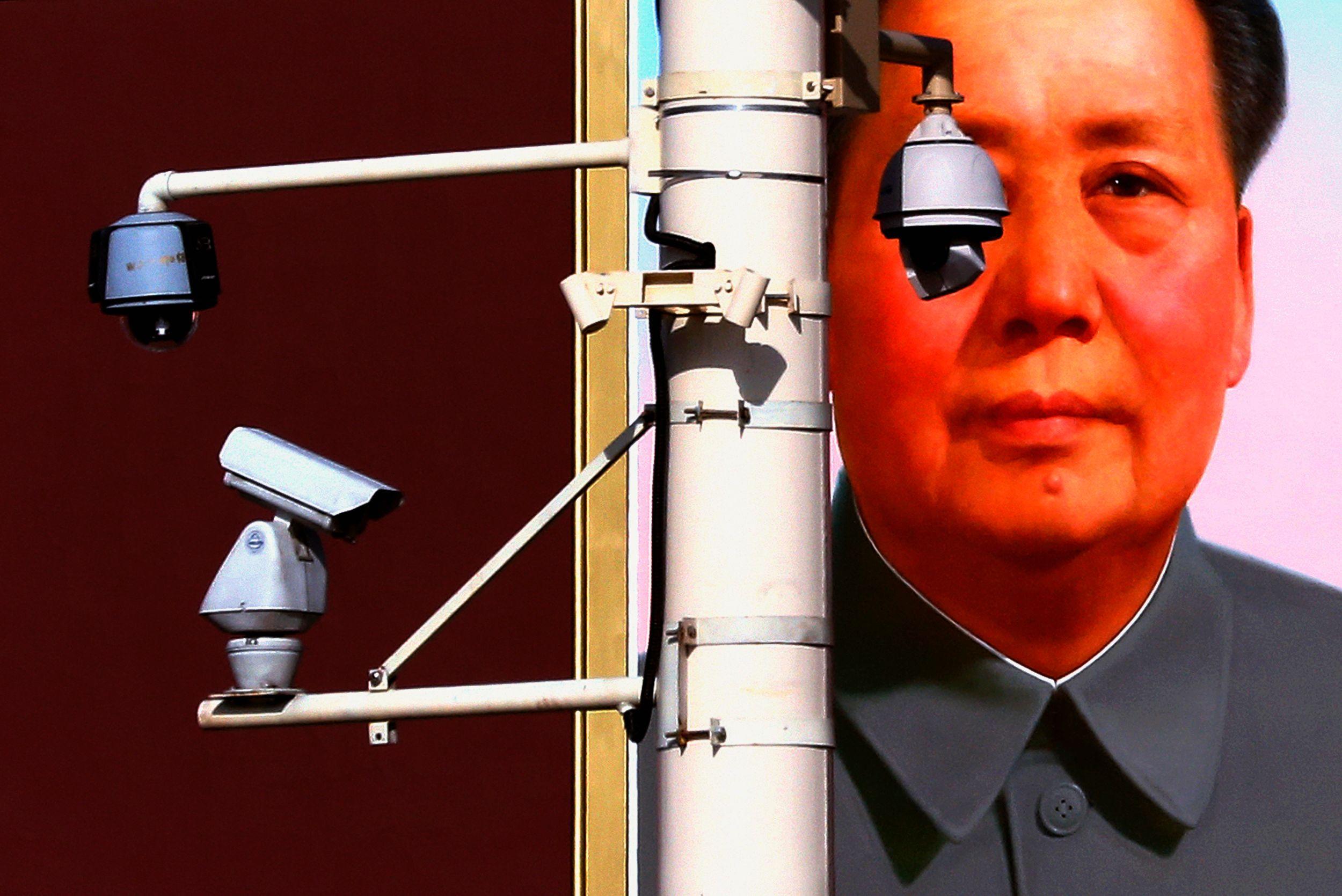 Une affiche de Mao sur un immeuble de Pékin.