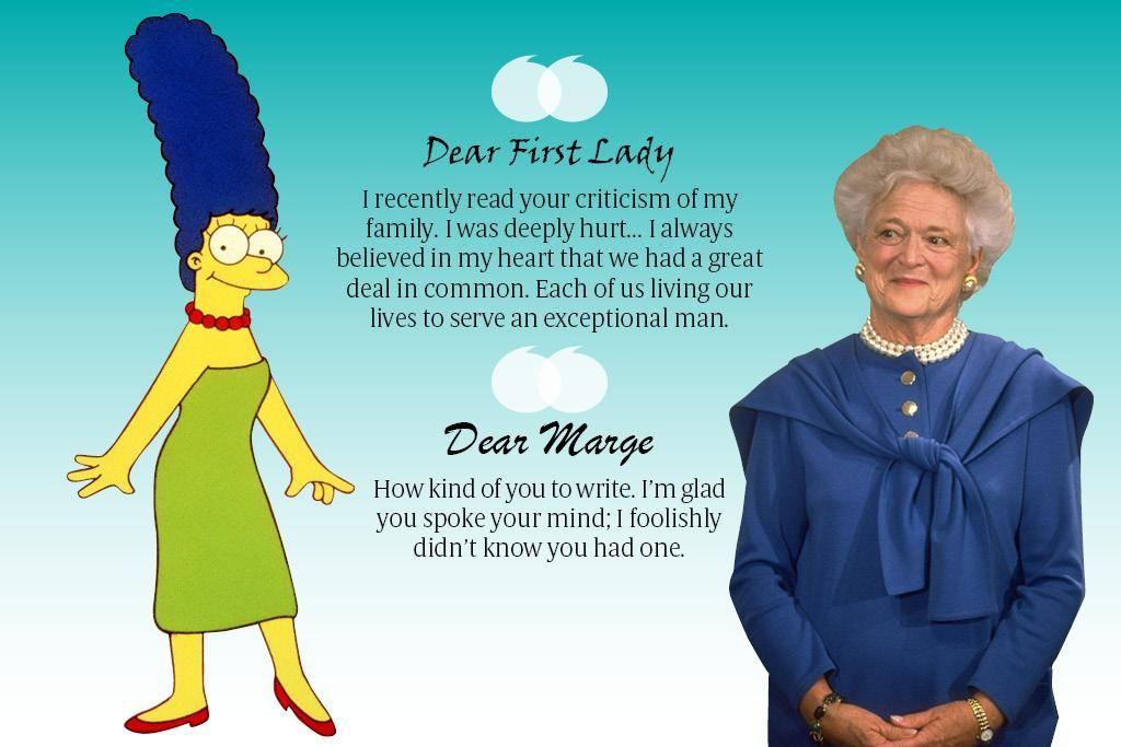 Barbara Bush a eu un échange épistolaire avec Marge Simpson !