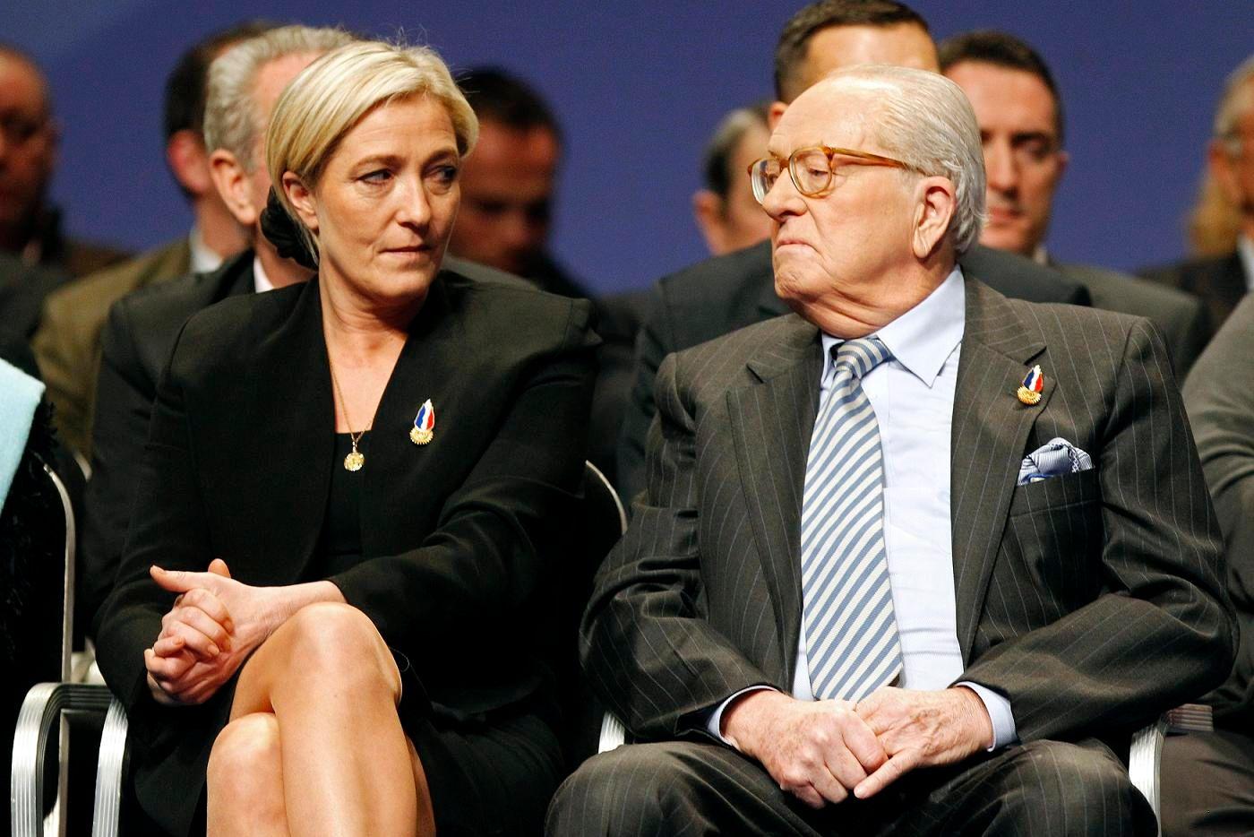 Marine Le Pen et son père.