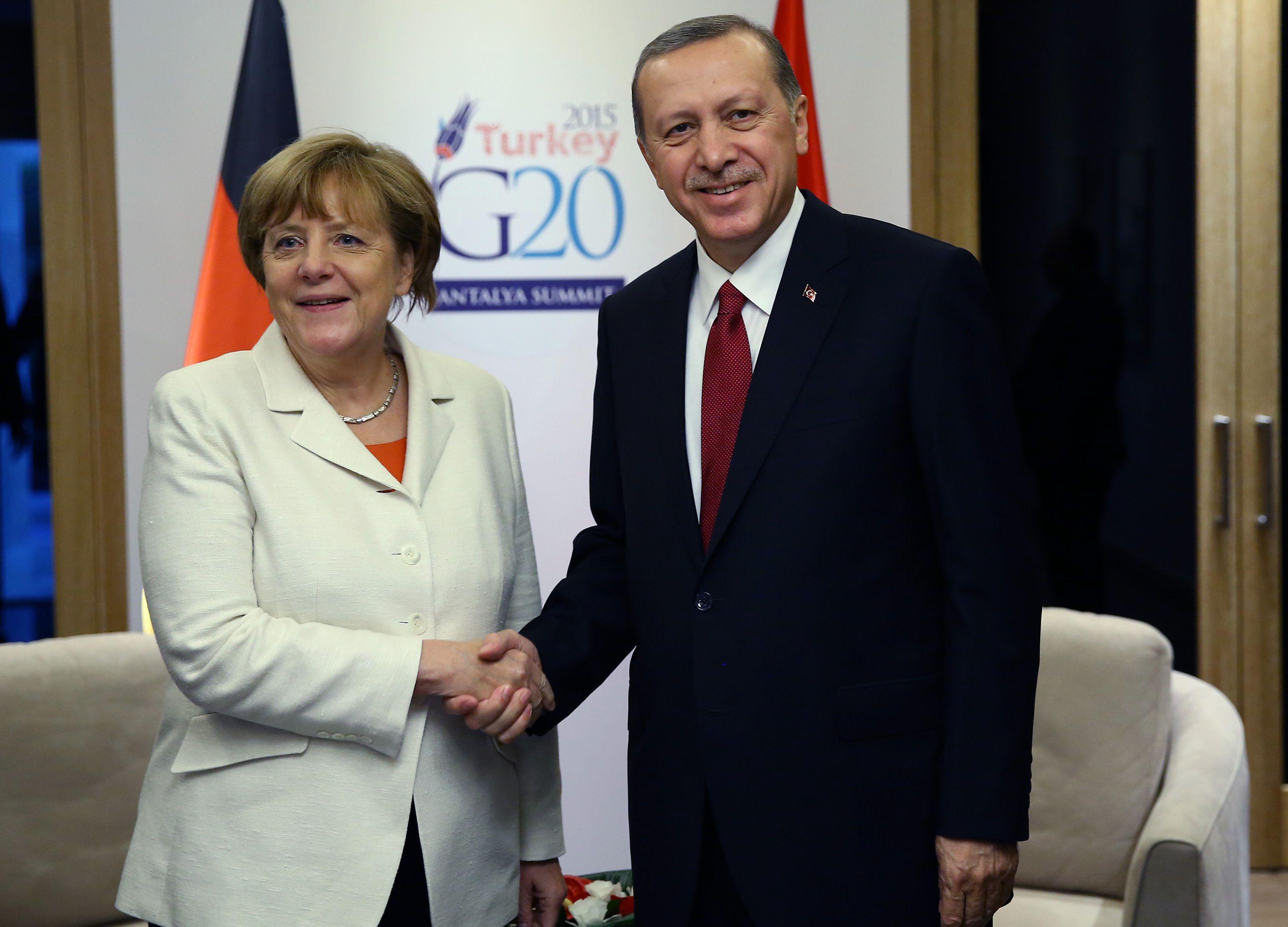 Angela Merkel en compagnie de Recep Tayyip Erdogan lors du G20 en Turquie en novembre 2015