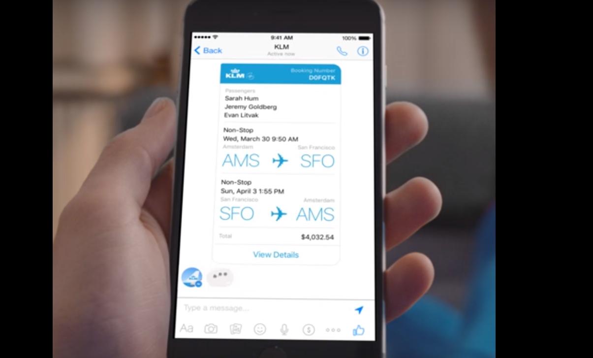 Vous pouvez désormais réserver un vol KLM via Facebook messenger