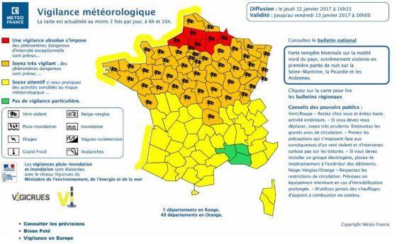 Tempête hivernale : 53 départements en vigilance orange neige, vent et verglas