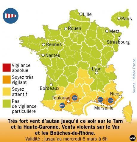 Carte Météo France de vigilance orange pour quatre départements français