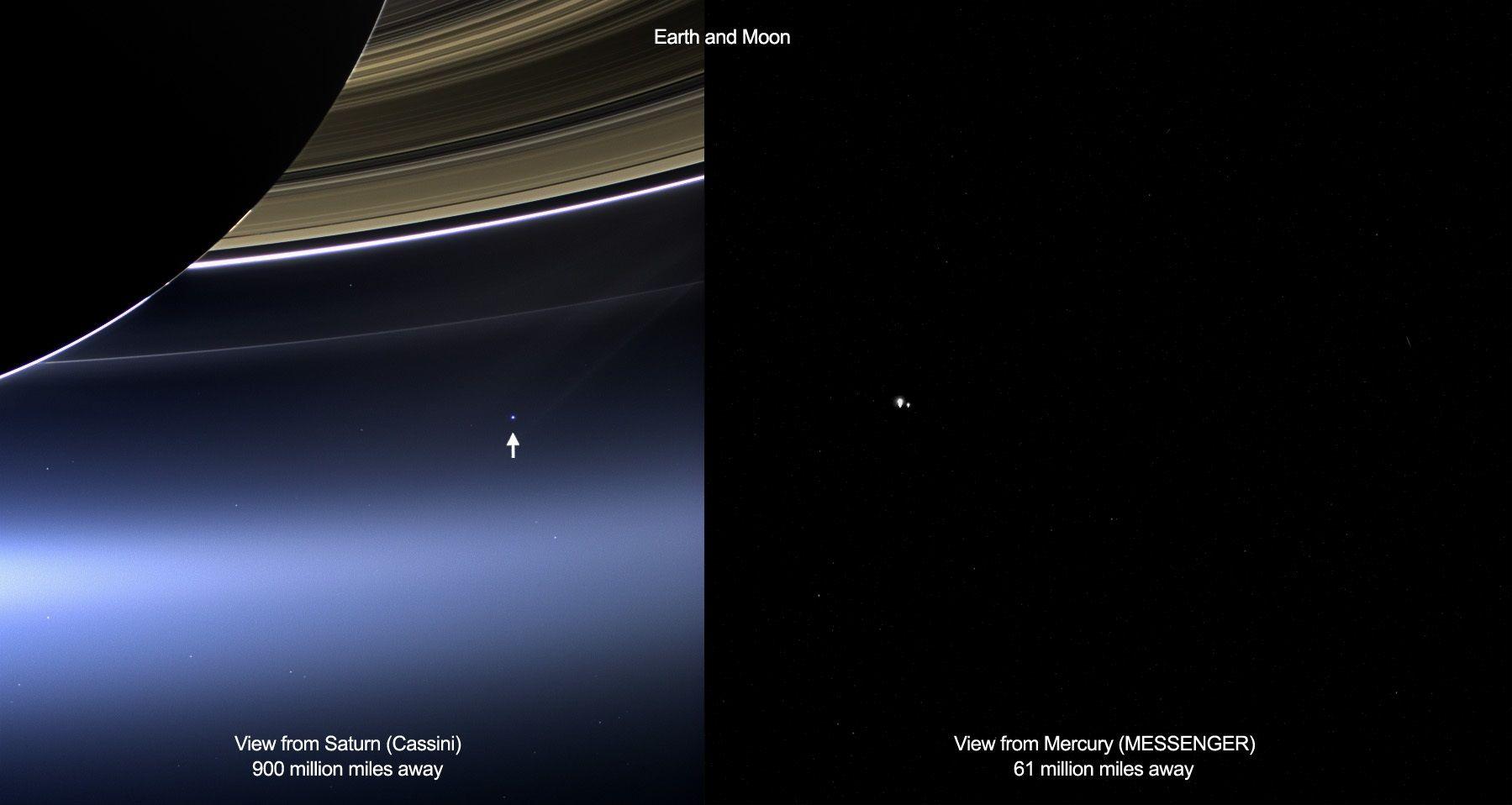 Espace : la Terre vue depuis Saturne et Mercure