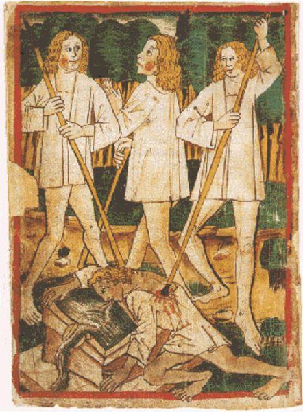 Un extrait du manuscrit de la Chanson des Nibelungen (15e siècle).