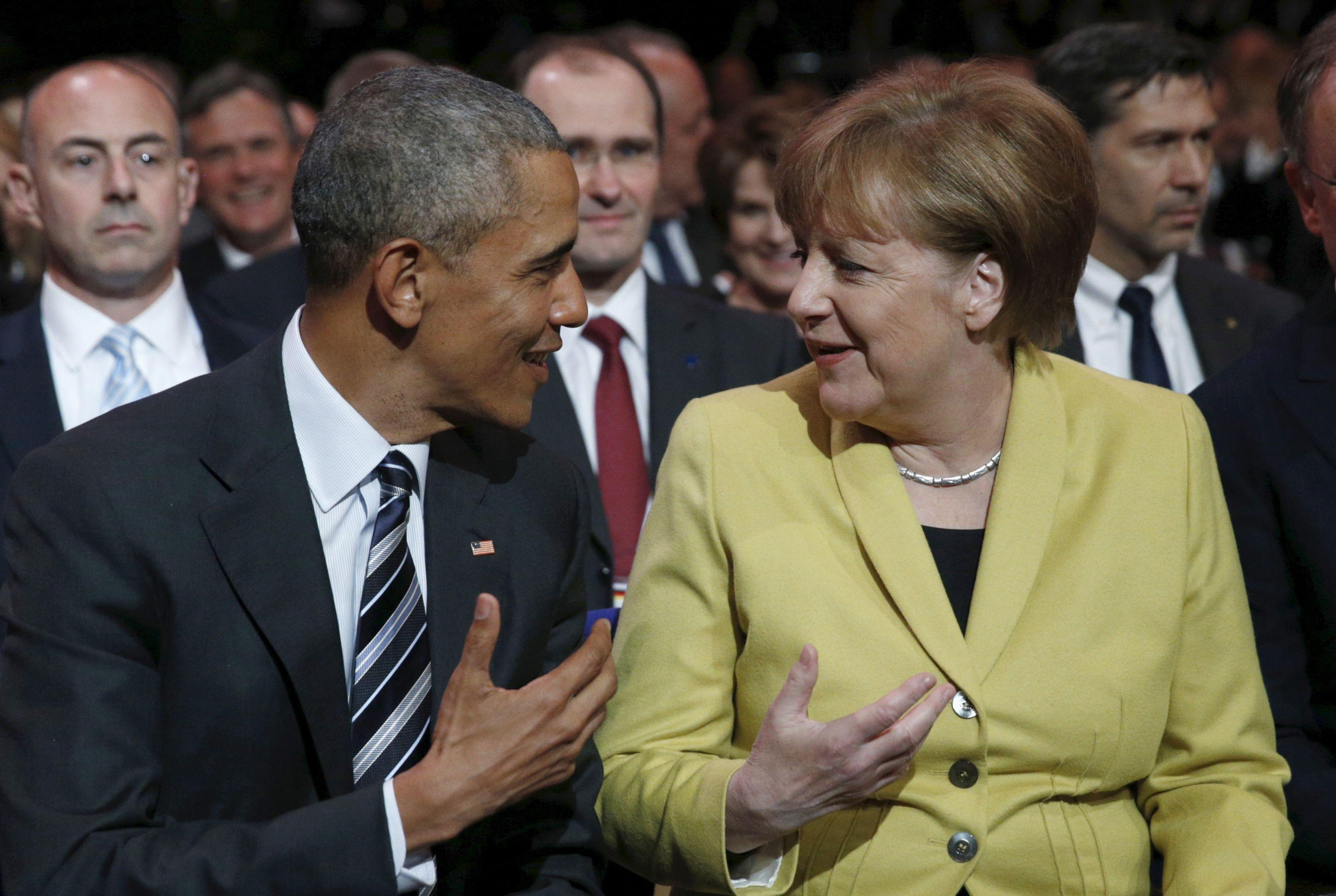 La chancellière allemande Angela Merkel et le président des Etats-Unis Barack Obama, lors de la cérémonie d'ouvertue de la foire d'Hanovre le 24 avril 2016.