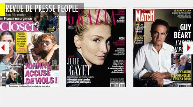 """Brad Pitt et Angelina Jolie adoptent un 7ème enfant en Syrie; Julie Gayet parle politique (parce que """"les filles ont une pensée plus élaborée"""") mais ne pipe mot sur François; Johnny Depp a peur pour Lily Rose"""