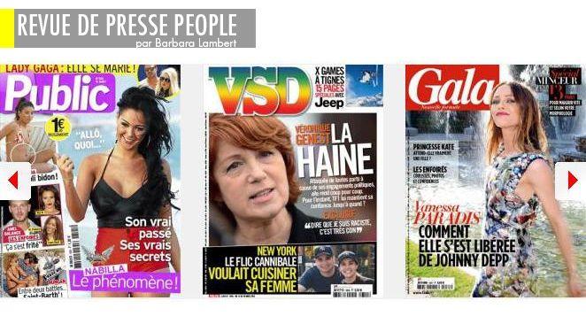 Vanessa Paradis : comment elle s'est libérée de Johnny D., Véronique Genest : après l'émission-suicide, l'itw kamikaze, Nabilla, allô : vraie ou fausse bimbo