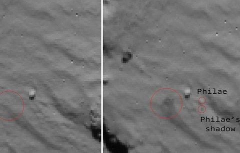 Philae : le rebond du robot sur la comète Tchouri en images.