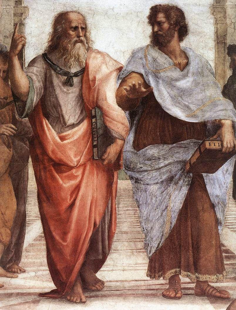 Platon (à gauche) et Aristote (à droite). Détail de la fresque L'École d'Athènes du peintre italien Raphaël.