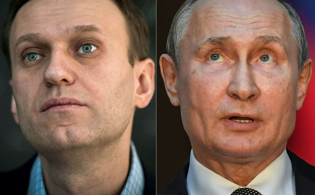 Cette combinaison de photos montre le leader de l'opposition russe, Alexeï Navalny, et le président russe, Vladimir Poutine. Alexeï Navalny a accusé Vladimir Poutine d'être à l'origine de son empoisonnement.