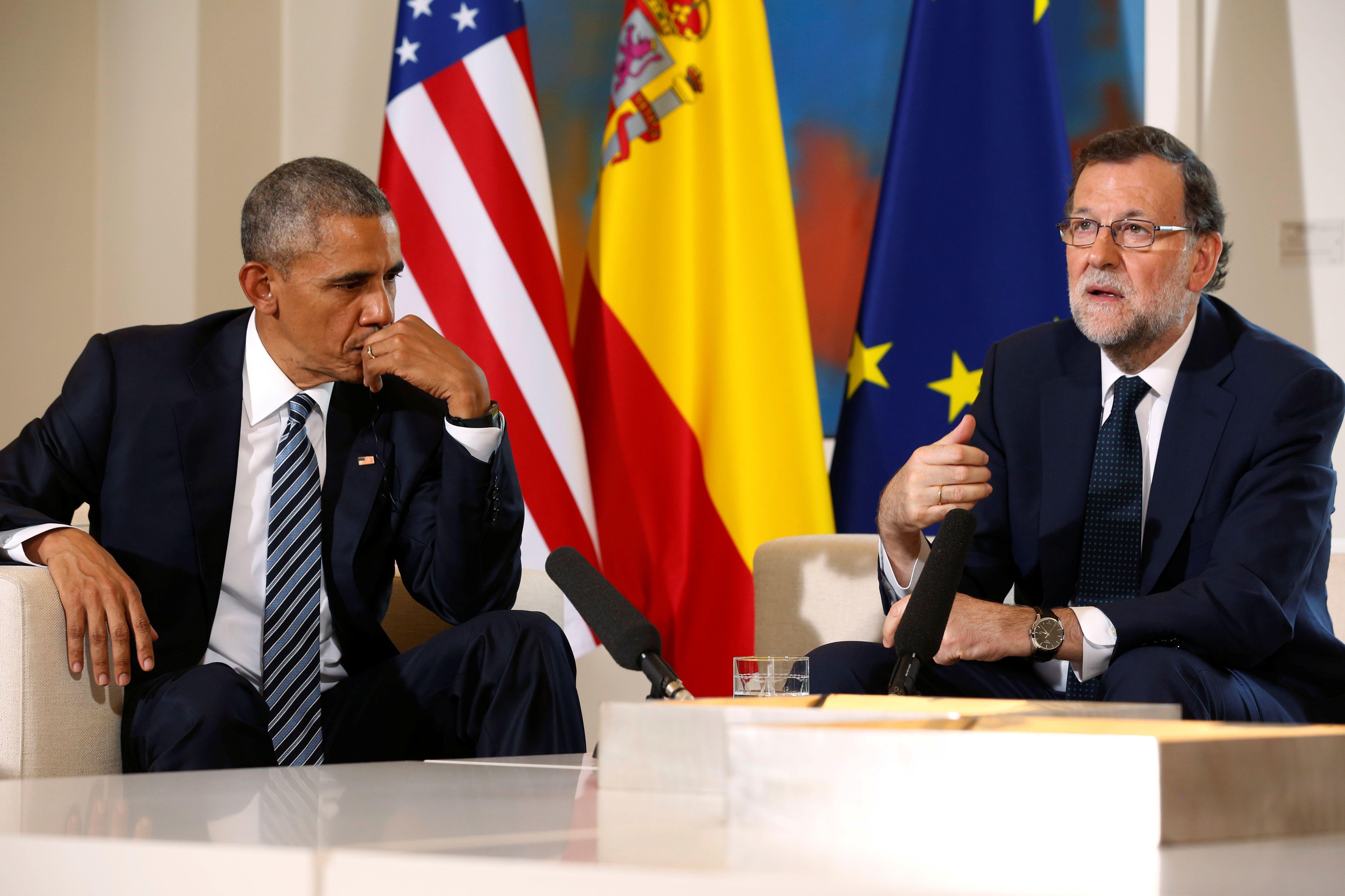 """Le Président américain Barack Obama n'avait pas manqué de féliciter le Premier ministre espagnol pour """"les progrès économiques réalisés"""" dans le pays lors de leur rencontre à Madrid (Espagne) le 10 juillet 2016."""