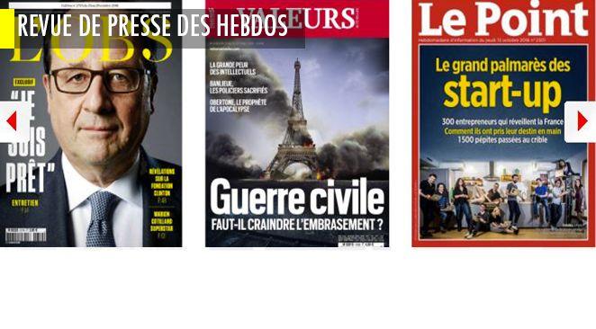 """Hollande est """"prêt"""", les candidats de droite s'assassinent, le palmarès des start-up du Point, et Valeurs Actuelles craint une guerre civile"""