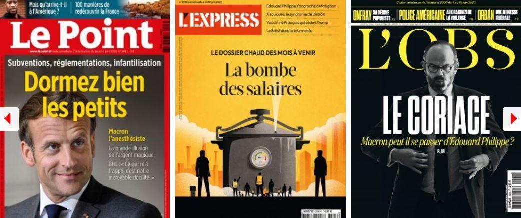 Le Point pense que Macron endort les Français à coup de milliards qu'il n'a pas; L'Express s'inquiète pour nos salaires; VA tire à vue sur les ennemis de Raoult; Onfray décline l'invitation de Buisson