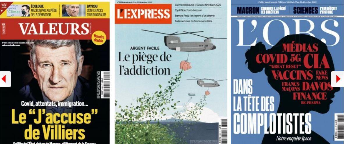 Emmanuel Macron prend le temps d'écrire lui-même ses discours (et de nous informer que son mot préféré est saxifrage); L'Obs celui d'écouter les complotistes; L'Express veut une cure de désintox à l'argent facile; Philippe de Villiers dénonce un naufrage