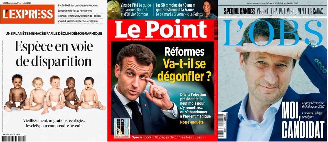 Le Point a enquêté sur les projets de réformes d'Emmanuel Macron et la rédaction de L'Obs dévoile une interview de Yannick Jadot qui officialise sa candidature pour l'élection présidentielle de 2022