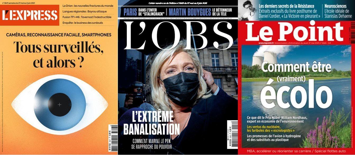 Marine Le Pen est à la une du nouveau numéro de L'Obs, Le Point s'intéresse à l'écologie et L'Express se penche sur la surveillance au sein de la société.