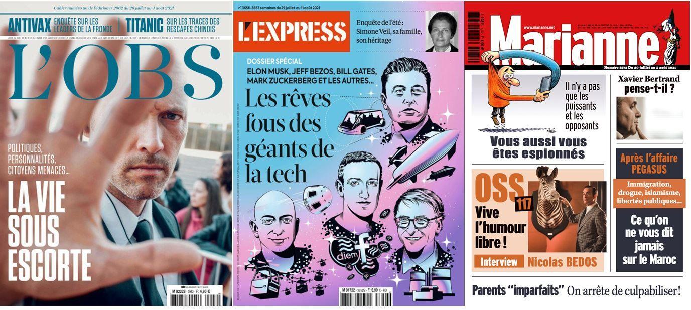 L'Obs enquête sur la vie sous escorte des personnalités. La rédaction de L'Express revient sur les rêves fous des géants de la tech comme Jeff Bezos ou Elon Musk.
