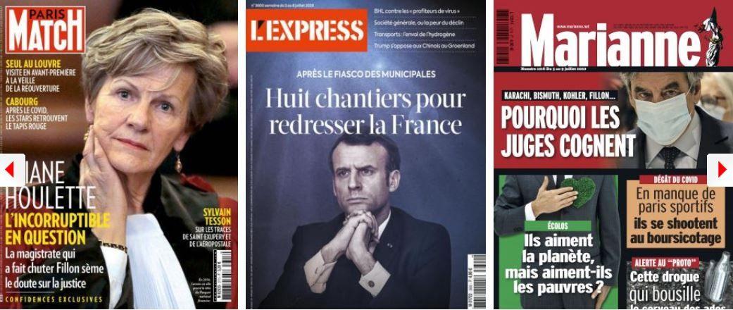 revue de presse des hebdos Eliane Houlette Emmanuel Macron François Fillon