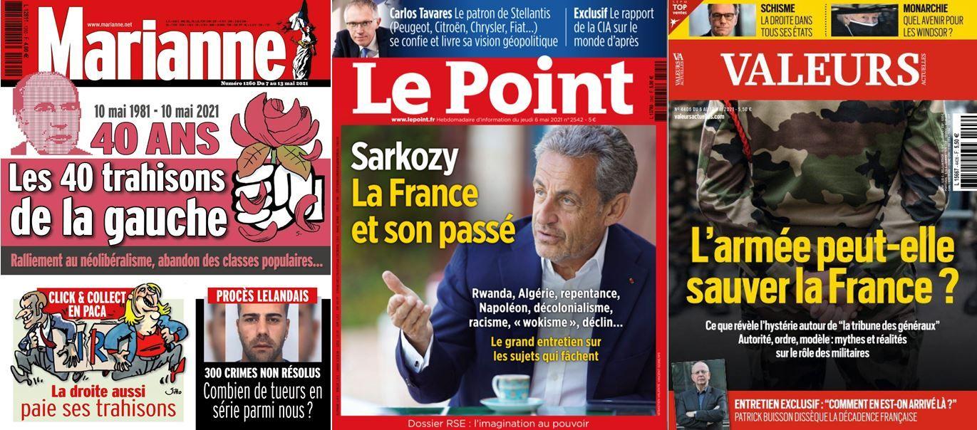 Nicolas Sarkozy a accordé un entretien au Point, Valeurs Actuelles s'interroge sur le rôle de l'armée après la tribune des généraux et Marianne revient sur les 40 trahisons de la gauche depuis mai 1981.